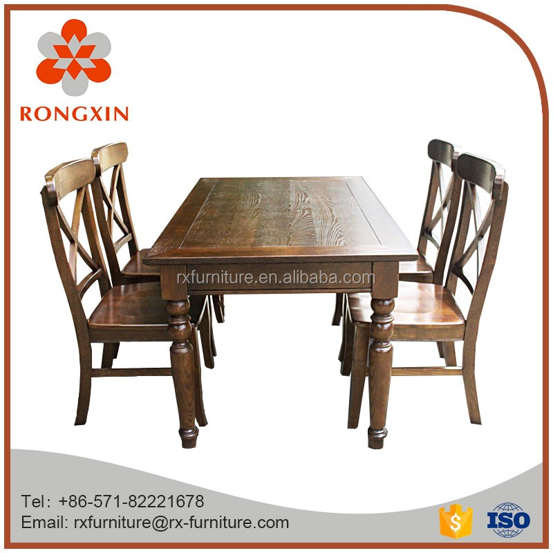 Antique solid wood dining table set with chairs