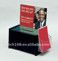 Clear Acrylic lottery box /Transparent Suggestion Box / Plastic Ballot Box with brochure holder