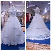 Surmount Real White Tulle Gown Lace Appliqued Sleeveless High Collar Beaded Wedding Dress