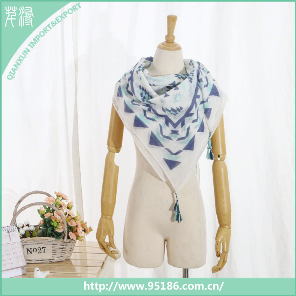 SC-116397 Qianxun Geometry Pattern Wholesale Blended Square Scarf
