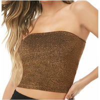 New design women clothes strapless Cropped hem Metallic Tube Top