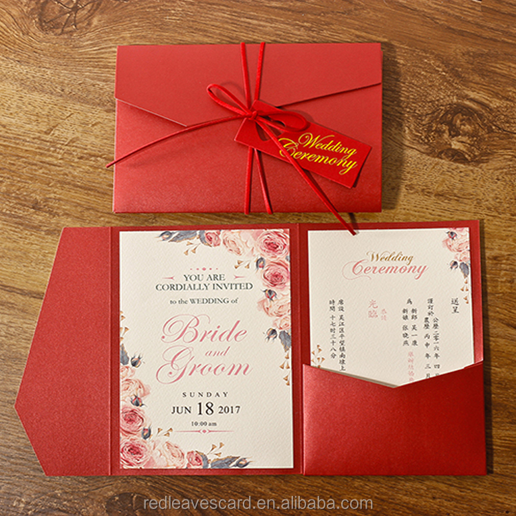 Popular wedding invitation card luxury printed with bride and groom's name and wedding date