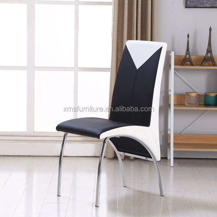 Simple comfortable faux leather chrome steel chair kitchen furniture design