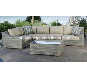 Hot sale all weather patio furniture large sun bed rattan round couch for sale