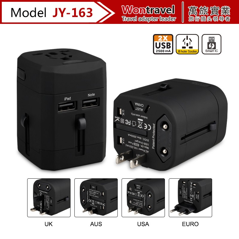 Portable Adaptor USB Charger US UK AU EU Plug 4 in 1 AC Power Universal Travel Adapter Electrical Converter Plug Socket