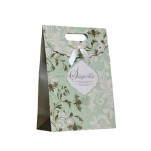 12x6x16cm OEN Design Printed Paper Bags Closure with Ribbon Tie Baby Carrier Bag