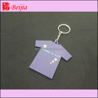 Custom football jersey 3D embossed soft pvc silicone keychain/rubber key chains/keyring