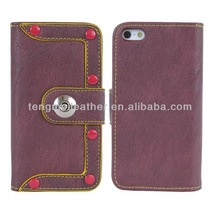 Purple PU Leather Folio Studded Flip Wallet Case For iPhone 5S 5C,Belt Strap Leather Wallet Case For iPhone 5S 5C
