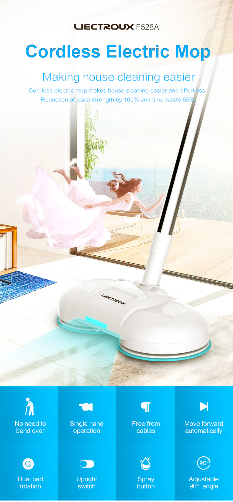 LIECTROUX F528A Cordless Dual Spin Electric Mop & Waxer with Water Spray & Wax Spray Functions,Wireless Mopping and Waxing Robot