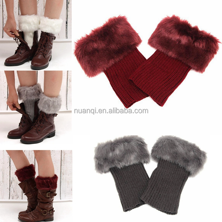 Footwear Accessories- Fashion Hot Sell Easy Matching Faux Fur Boot Cuffs Wholesale