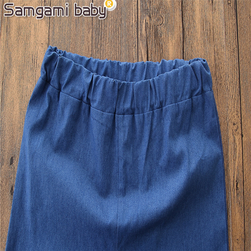 Mom And Baby Little Girls Bell Bottoms Family Clothing Outfits Mother Daughter Trousers Denim Jeans