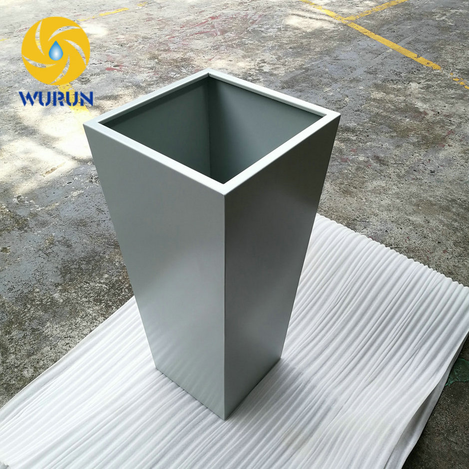 China Manufacture Free Drawing Tall Square White Outdoor Garden Planters and Pots