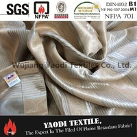 High quality 100% polyester flame retardant embossed strip blackout curtain fabric