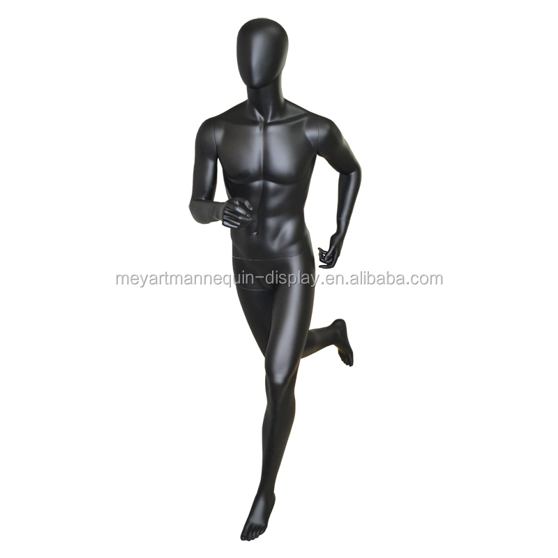 Running male mannequin, running men model, muscular male dummy mannequin