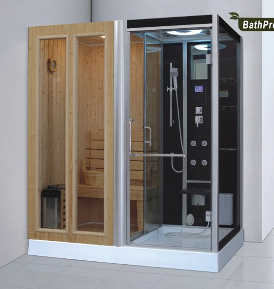 rectangle shape indoor sauna and steam combined room for 2 person