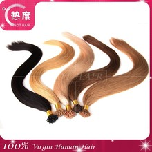 I tip human hair extensions wholesale virgin peruvian remy pre bonded I tip hair 1g/strand 10-30inch double drawn hair extension