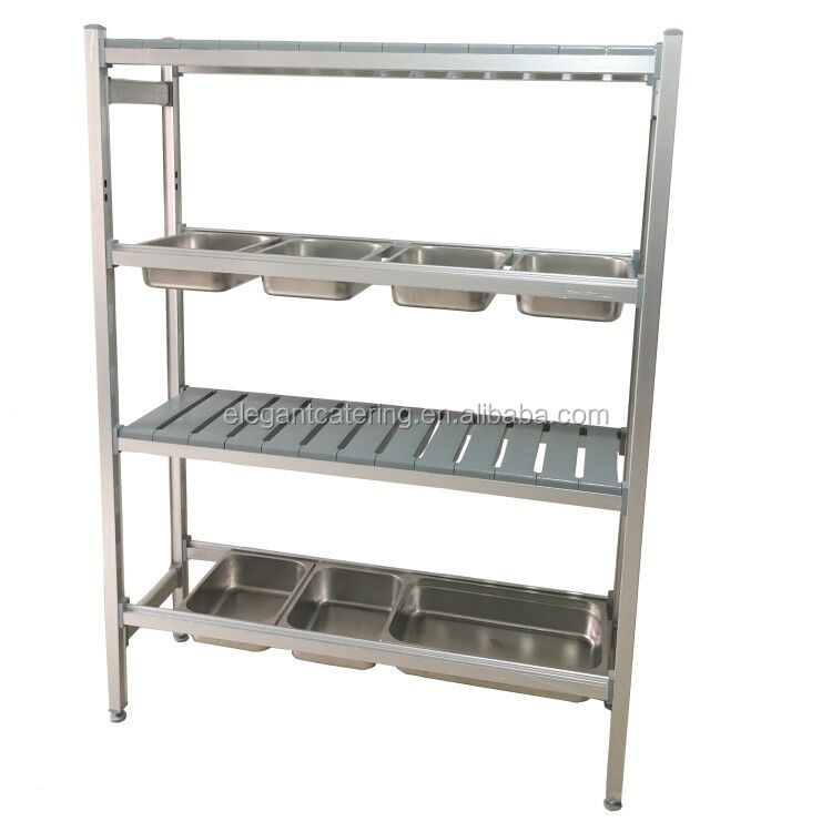 Adjustable aluminium GN pan containers shelving kitchen shelf