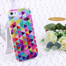 Different color combination triangle colorful case for iphone 5s glossy case