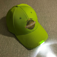 Led Light Embroidery Logo Hat And 100% Cotton Customize Logo Led Bottle Cap