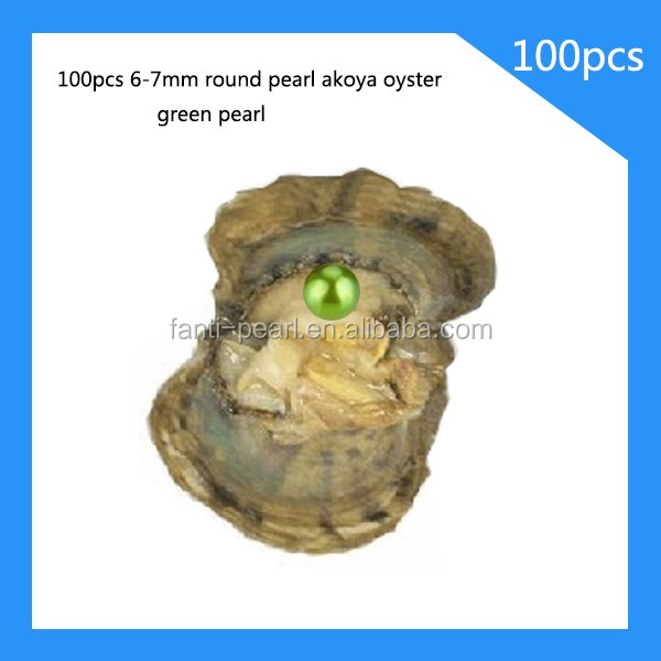 6-7mm akoya pearl oyster one green pearl in side wholesale