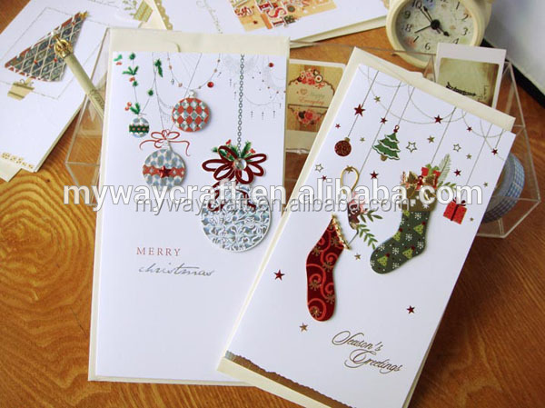 Exquisite customized decorative luxury 3D handmade christmas greeting cards in long pattern