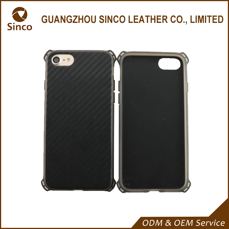 Four corner protect shockproof carbon fiber texture back cover polycarbonate cell phone cases with tpu rubber edge