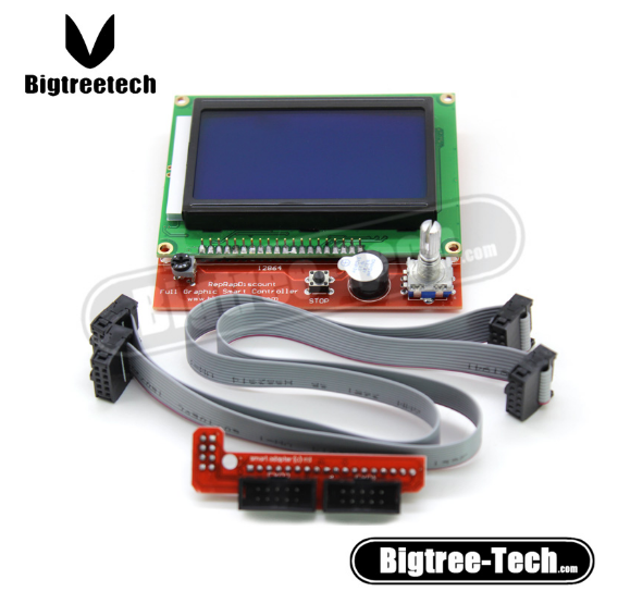 BIQU RAMPS 1.4 Reprap 3D Printer Kit LCD 12864 Version Graphic Smart Display Controller Module with Adapter and Cable