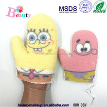 Promotion printed cartoon pattern bath sponge for kids color can be chosen simple special logo can be imprinted