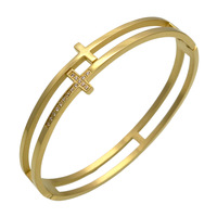 Double Layers Cross Bracelet Bangle Women Stainless Steel Gold Bracelets For Men Custom Jewelry Wholesale