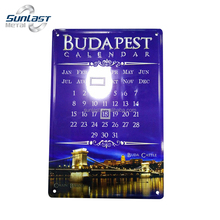 Embossed die cut printed tin sign metal calendar wall hanging sign