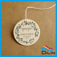 high class 2X2INCH embossing round paper hang tag for jewelry