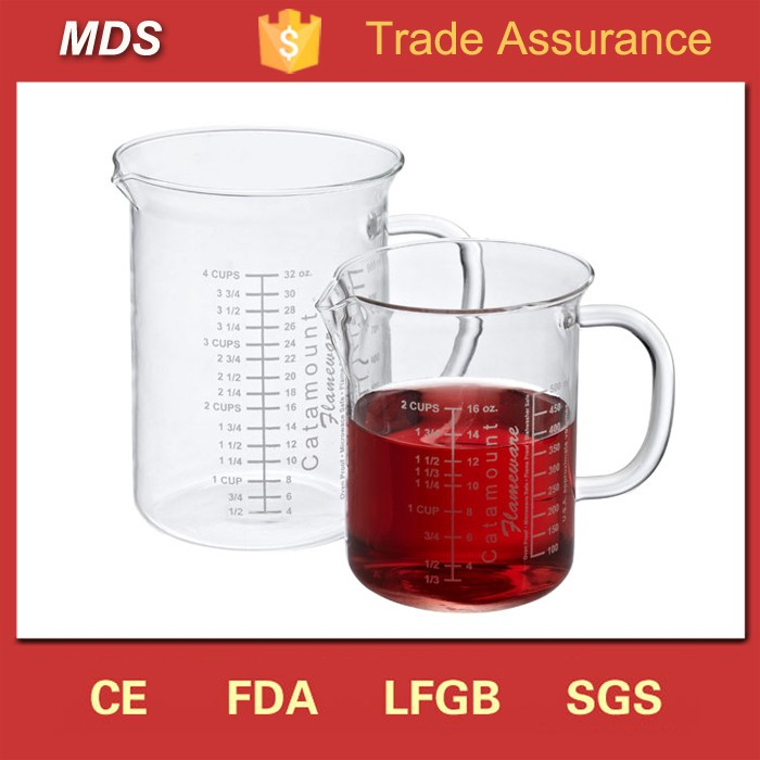 Novelty borosilicate measuring drinking glass cup