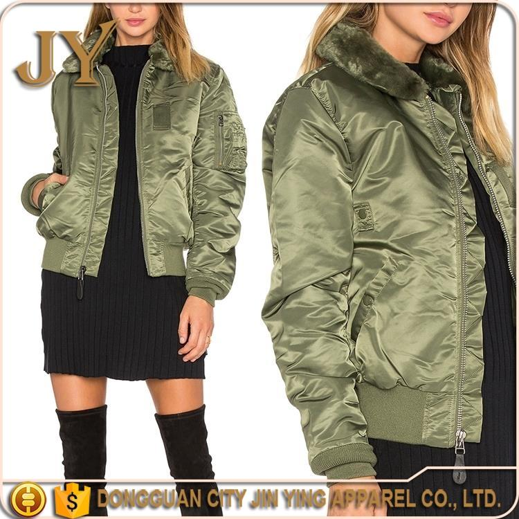 Used Clothing Women Short Winter 2016 Winter Satin Green Army Jacket And Coats