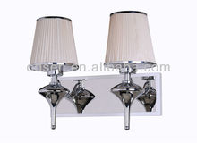 brocade lampshade chrome finish double lights for corridor or hotel room