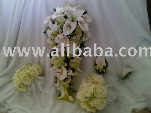 Wedding silk Flowers Cala Lilies, Orchids tier drop bouquet