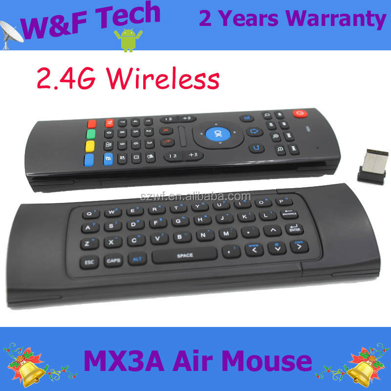High quality MX3 Remote Control Fly Air mouse 2.4GHz wireless keyboard 6-Axis Inertia Sensors