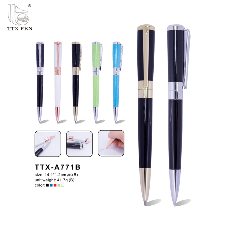 Promotional high quality stationery white metal ballpoint pen with logo