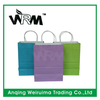 Environmental kraft shopping paper bag with your own logo ,customized shopping paper bag with round paper handle
