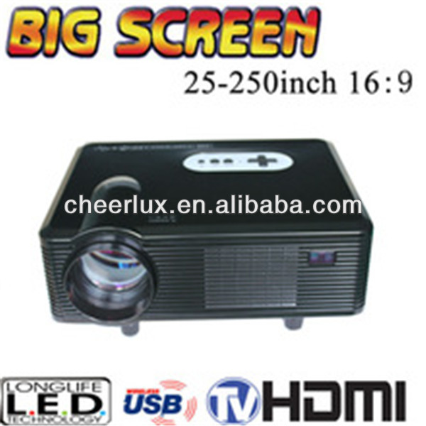 Digital home theatre projector with HDMI/ USB/ VGA Media Tuner Support 1080p 3D