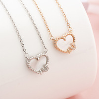 Charm Women 925 Sterling Silver Jewellery Necklace Natural Shell Heart Pendant Necklace Wholesale