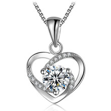 Trendy Charm Lady Dress <strong>Necklace</strong> Jewelry Diamond Heart Pendant Luxury 925 Sterling Silver Chain <strong>Necklace</strong> For Women Fashion Gift