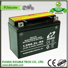 rechargeable 12v lead acid battery 12V 6.5ah, starting 12N6.5L-BS motor cycle batteries, motorcycle parts