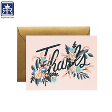 17101207 Hot Stamp Elegant Matte Paper Envelope Cards Sets Thank You Greeting Cards with Gold Foil