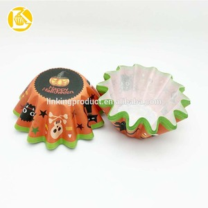 Halloween Theme Disposable Paper Wave Baking Cake Cups