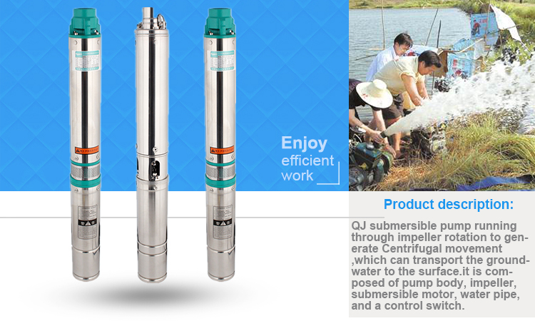 durable products QJ type deep well pump Submersible water pump price list