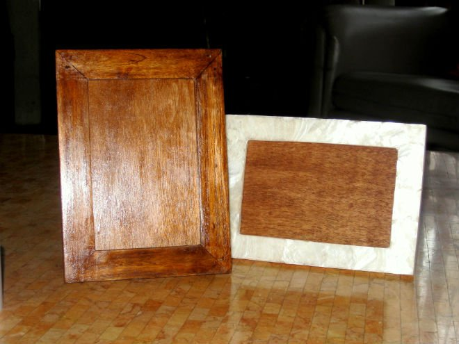 Mahogany Wood Picture Frame and Capiz Shell Picture Frame