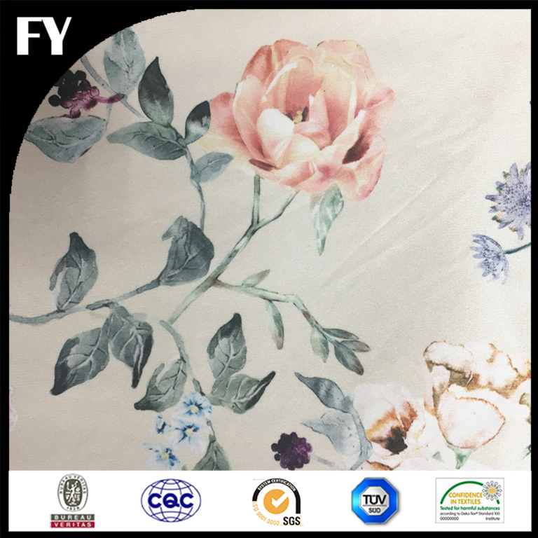 Digital printing 100% spun polyester single jersey knitted fabric