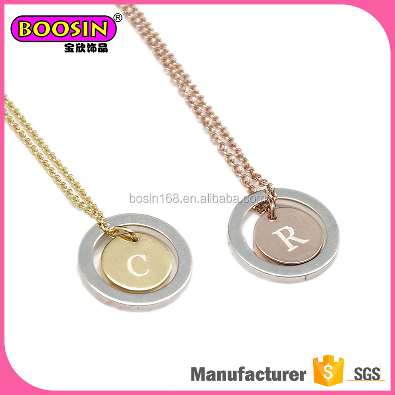 Custom logo jewelry tags initial necklace cheap, custom name design necklace