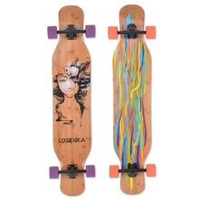 Skateboard complete of 1 ply bamboo and 8ply canadian maple longboard