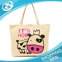 Wholesale Eco Cartoon Picture Printed Cotton Canvas Fabric Tote Shopping Bag